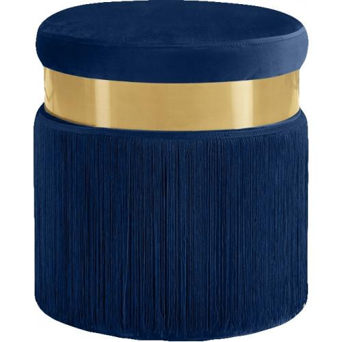 Blue Long Fringed Round Velvet Ottoman Footstool