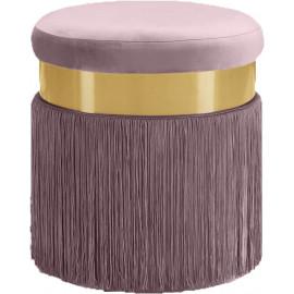 Blush Mauve Pink Long Fringed Round Velvet Ottoman Footstool
