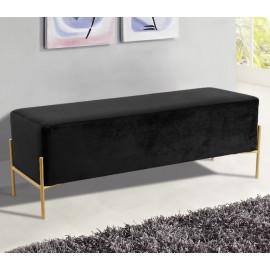 Black Velvet Mid Century Modern Stick Gold Legs Bench