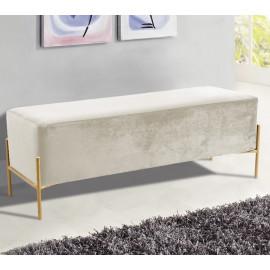 Cream Velvet Mid Century Modern Stick Gold Legs Bench