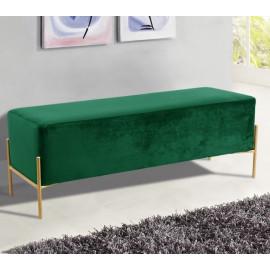 Green Velvet Mid Century Modern Stick Gold Legs Bench