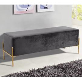 Grey Velvet Mid Century Modern Stick Gold Legs Bench