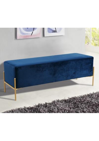 Blue Velvet Mid Century Modern Stick Gold Legs Bench