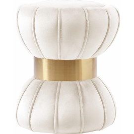 Hourglass Shaped Cream Velvet Ottoman Footstool