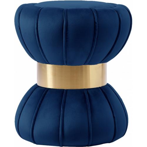 Hourglass Shaped Blue Velvet Ottoman Footstool