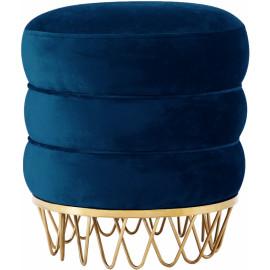 Blue Round Velvet Layered Ottoman Footstool Unique Gold Base