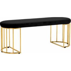 Black Velvet Gold Cage Bench