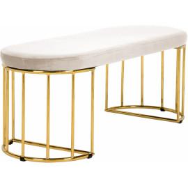 Cream Velvet Gold Cage Bench