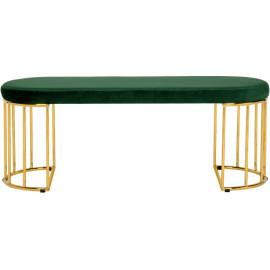 Green Velvet Gold Cage Bench
