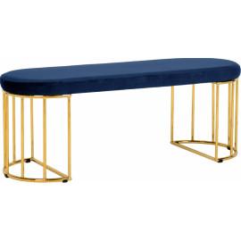 Blue Velvet Gold Cage Bench