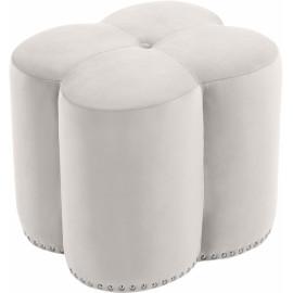 Cream Flower Velvet Tufted Ottoman Footstool