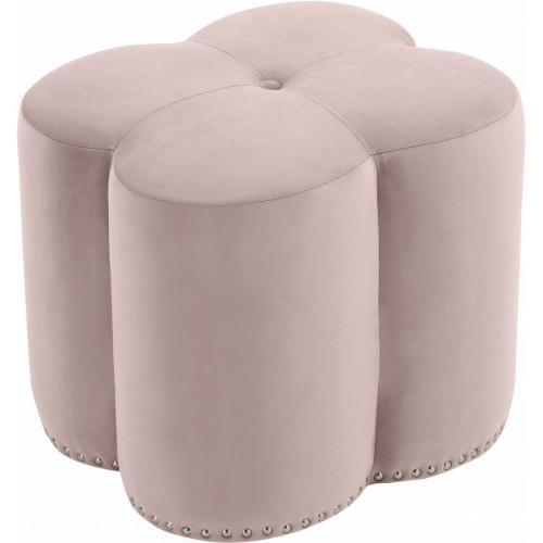 Pink Flower Velvet Tufted Ottoman Footstool