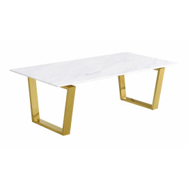 Brushed Gold White Marble Coffee Table