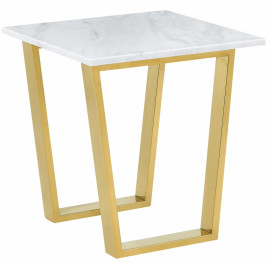 Brushed Gold White Marble Accent Table
