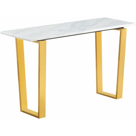 Brushed Gold White Marble Console Table