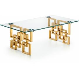 Gold Geometric Base Glass Top Rectangular Coffee Table