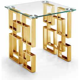 Gold Geometric Base Glass Top Rectangular Accent Side Table