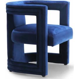 Royal Blue All Over Velvet Mod Barrel Chair