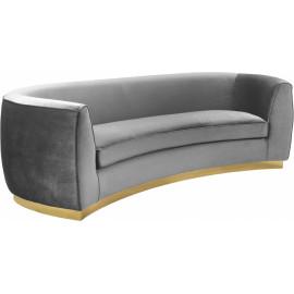 Grey Velvet Vertical Curved Sofa Gold Base