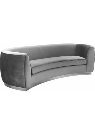 Grey Velvet Vertical Curved Sofa Silver Base