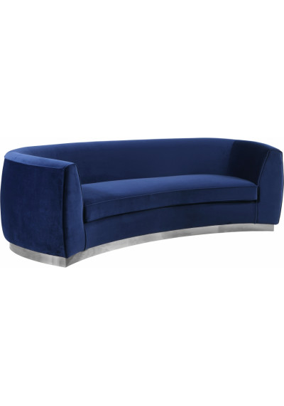 Blue Velvet Vertical Curved Sofa Silver Base