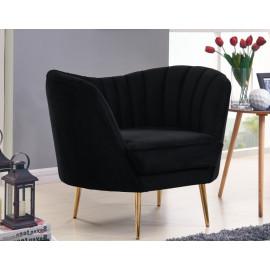 Black Velvet Channel Tufted Chair Gold Legs