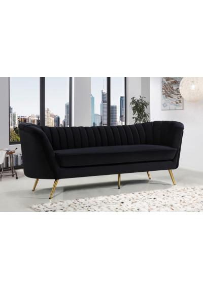 Black Velvet Channel Tufted Sofa Gold Legs