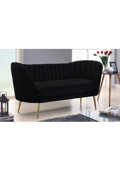 Black Velvet Channel Tufted Loveseat Sofa Gold Legs