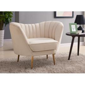 Cream Velvet Channel Tufted Chair Gold Legs