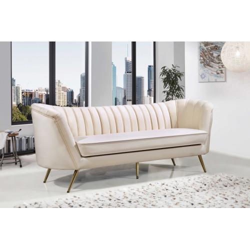 Cream Velvet Channel Tufted Sofa Gold Legs