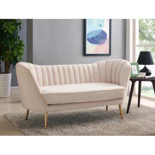 Cream Velvet Channel Tufted Loveseat Sofa Gold Legs