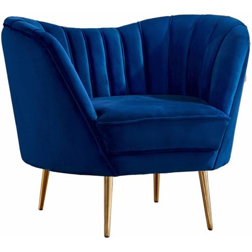 Royal Blue Velvet Channel Tufted Chair Gold Legs