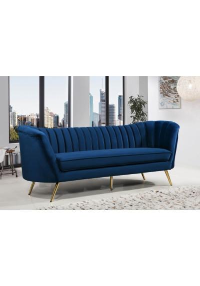 Royal Blue Velvet Channel Tufted Sofa Gold Legs