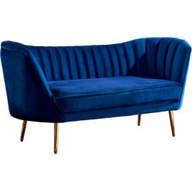 Royal Blue Velvet Channel Tufted Loveseat Sofa Gold Legs