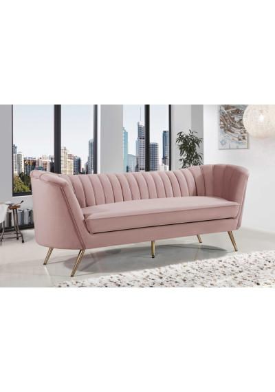 Blush Pink Velvet Channel Tufted Sofa Gold Legs