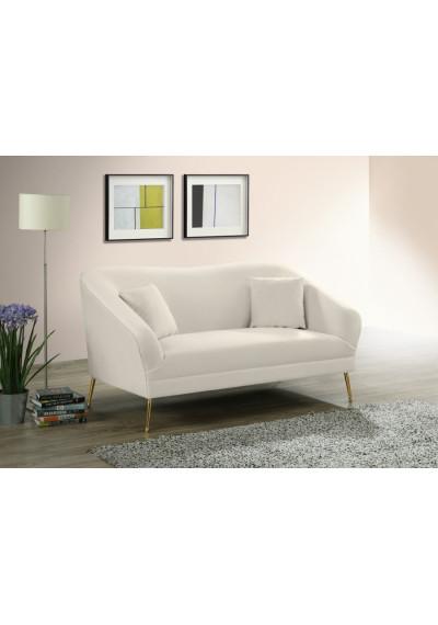 Cream Velvet Curved Sleed Loveseat Sofa Gold Legs