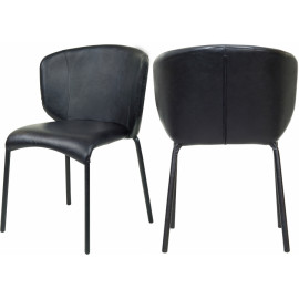 Black Faux Leather Modern Contemporary Dining Chair Set of 2