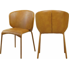 Carmel Cognac Faux Leather Modern Contemporary Dining Chair Set of 2