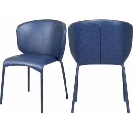 Blue Faux Leather Modern Contemporary Dining Chair Set of 2