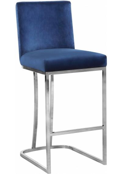 Blue Velvet Curved Stool Silver Base