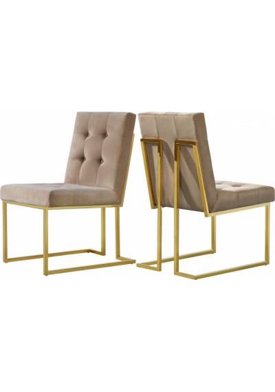 Beige Velvet Modern Boxy Geometric Dining Chair Gold Legs Set of 2
