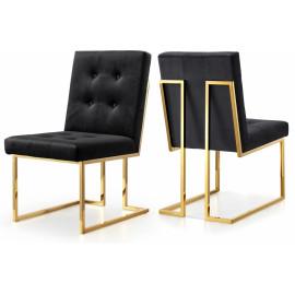 Black Velvet Modern Boxy Geometric Dining Chair Gold Legs Set of 2