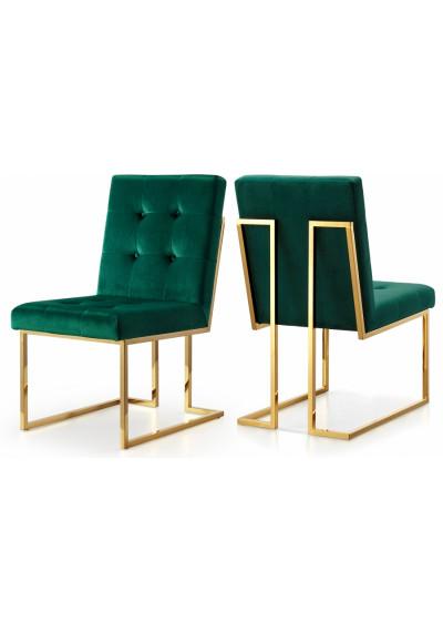 Green Velvet Modern Boxy Geometric Dining Chair Gold Legs Set of 2