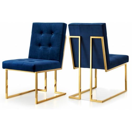 Blue Navy Velvet Modern Boxy Geometric Dining Chair Gold Legs Set of 2