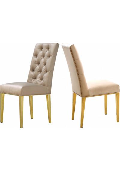 Beige Velvet Tufted Dining Chair Gold Legs Set of 2