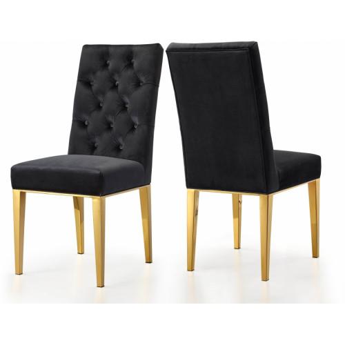 Black Velvet Tufted Dining Chair Gold Legs Set of 2