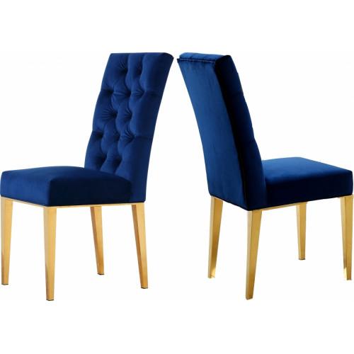 Blue Velvet Tufted Dining Chair Gold Legs Set of 2