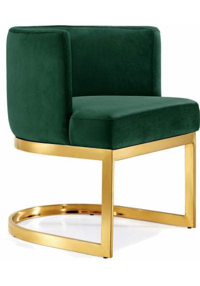 Green Velvet Barrel Shape Gold Base Dining Accent Chair