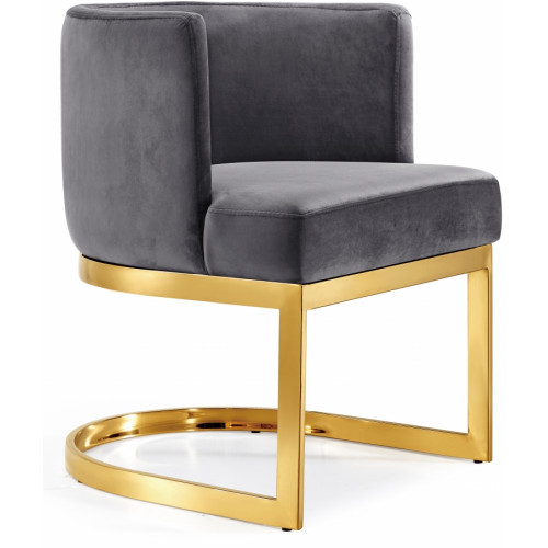 Grey Velvet Barrel Shape Gold Base Dining Accent Chair