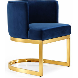 Blue Velvet Barrel Shape Gold Base Dining Accent Chair
